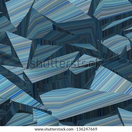 3d fragmented stripe pattern  blue backdrop - stock photo