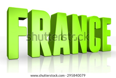 3D france text on white background