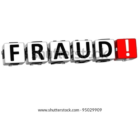 3D Fraud Block Text on white background - stock photo