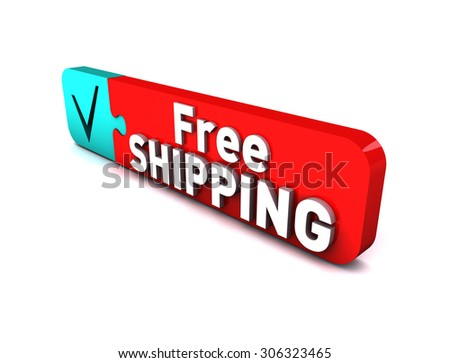 3D Free Shipping - stock photo