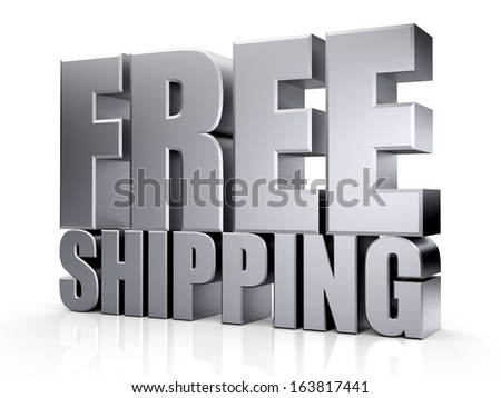 3D Free Shipping text on white background - stock photo