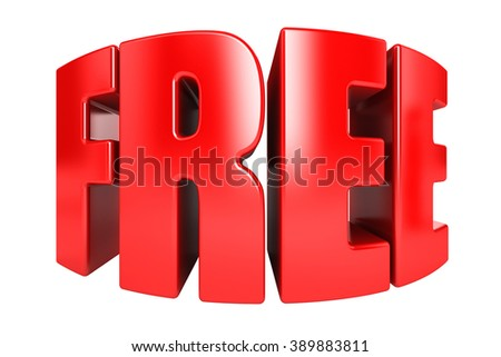 3D FREE word on white background - stock photo