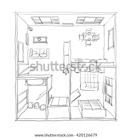 Sketch drawing 3d modern kitchen interior stock for 3d bedroom drawing