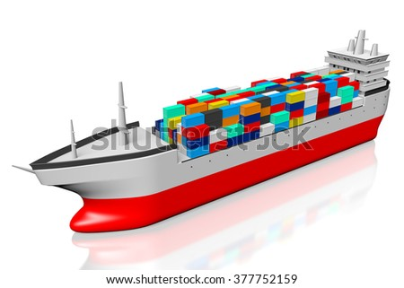 3D freight transportation ship with cargo containers. - stock photo