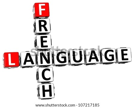 3D French Language Crossword on white background - stock photo