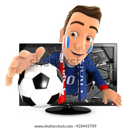 3d french soccer fan coming out of television, isolated white background