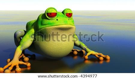 3d frog illustration on shallow reflective pond - stock photo