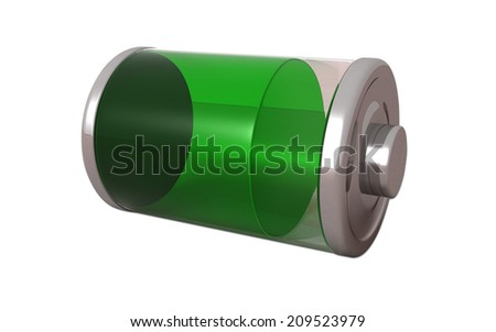 3D Full Battery symbol white isolated - stock photo