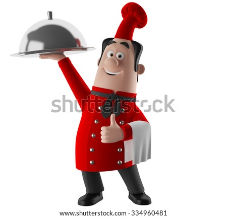3D funny cartoon character, merry cook icon, isolated no background, gourmet chef man, cooking figure, red apron - stock photo