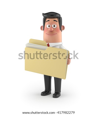 3D funny cartoon character office man in suit isolated - stock photo