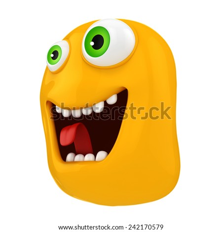 3d funny cartoon face - stock photo