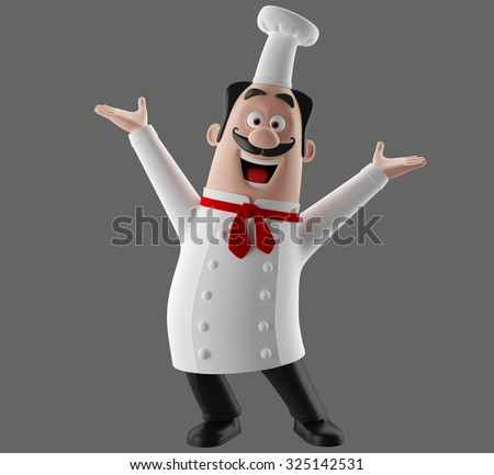 3D funny cartoon restaurant character, merry cook icon, isolated no background, pizza chef man, cooking people - stock photo