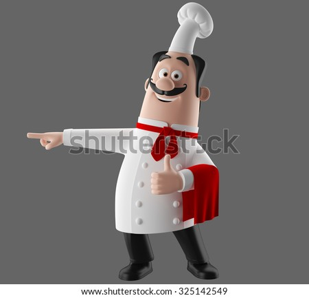 3D funny cartoon restaurant character, merry cook icon, isolated no background, pizza chef man, cooking people
