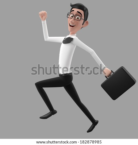 3d funny character, cartoon sympathetic looking business man, dear person in suit with glasses and tie  - stock photo