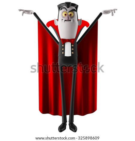 3d funny character, comic Dracula Halloween illustration isolated on white background - stock photo