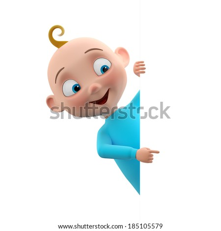 3d funny character, sweet blue-eyed baby boy icon, smiling cartoon child in blue outfit isolated peeping from behind a white sheet of paper, pointing finger  - stock photo