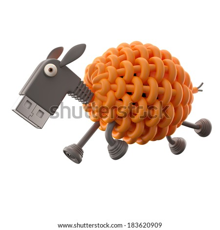 3d funny icon, usb connector sheep, technology humorous animal, USB connection character with orange cable, isolated on white background  - stock photo