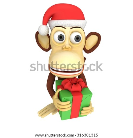 3d funny monkey in santa claus hat holding green gift with a red ribbon and a bow. 3D render isolated on white.