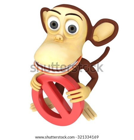 3d funny monkey with No Sign. 3D render isolated on white. - stock photo