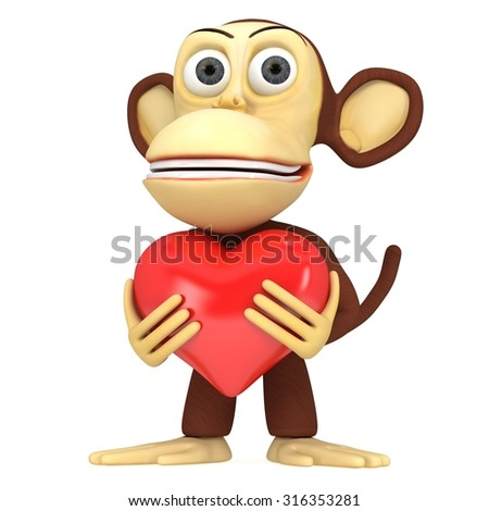 3d funny monkey with red heart. 3D render isolated on white.