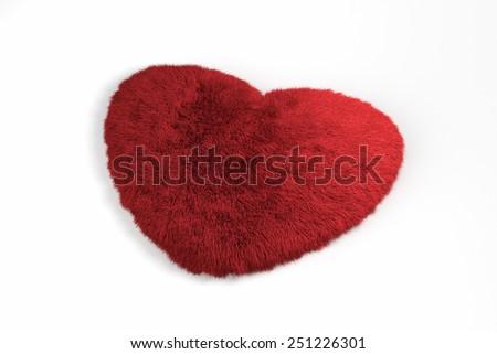 3d fur red heart love symbol - stock photo