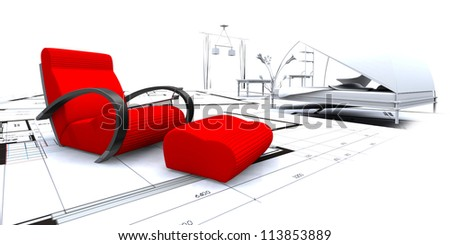 3D furniture in a blueprint interior - stock photo