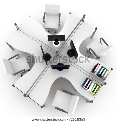 3d furniture office space with chair and LCD - stock photo