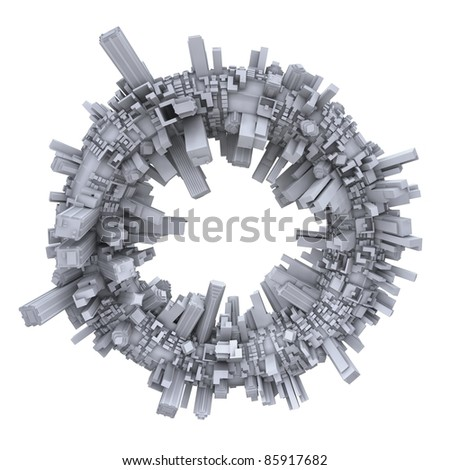 3d futurist city with buildings on white background