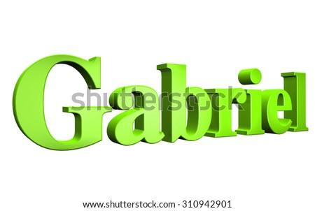3D Gabriel text on white background