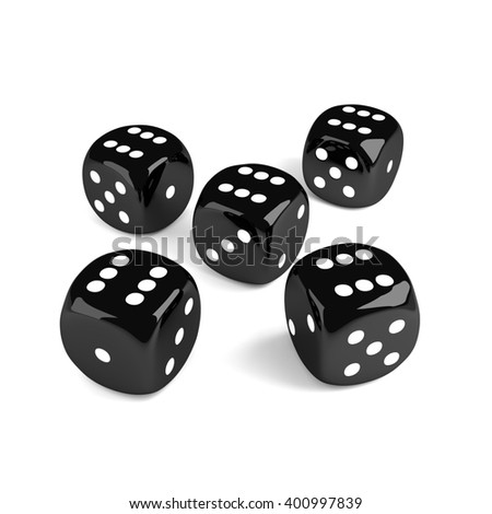 3d game black dices isolated on white background