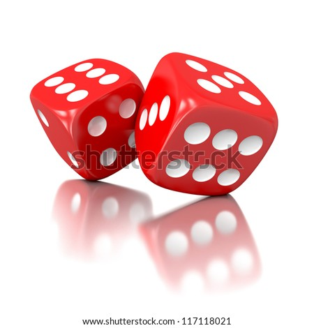 3d game dices isolated on white background - stock photo