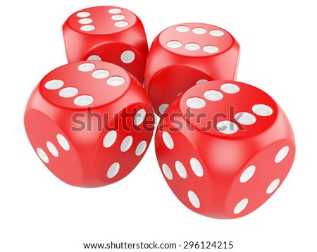 3d game red dices isolated on white background - stock photo