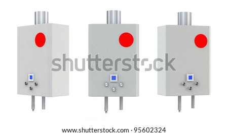 3d Gas boiler isolated on a white background - stock photo
