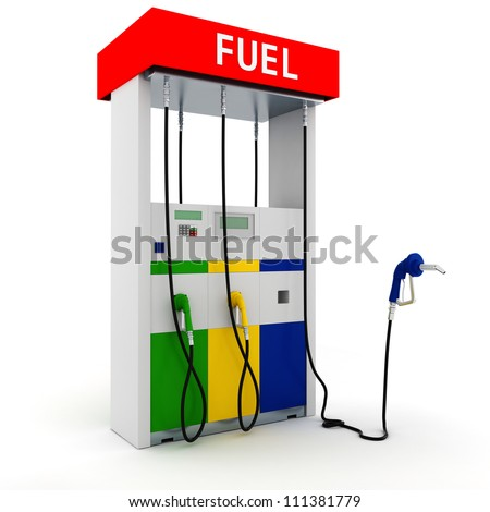 3d gas station on white background - stock photo