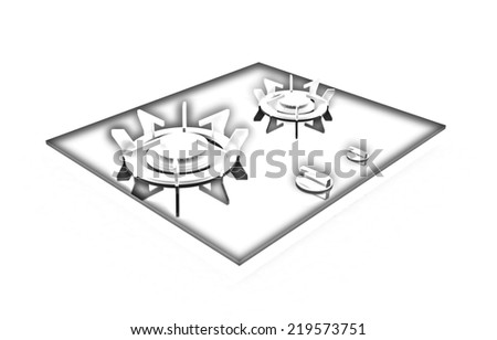 3d gas-stove on a white background. Pencil drawing