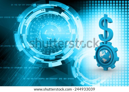 3d gear and earth with dollar - stock photo