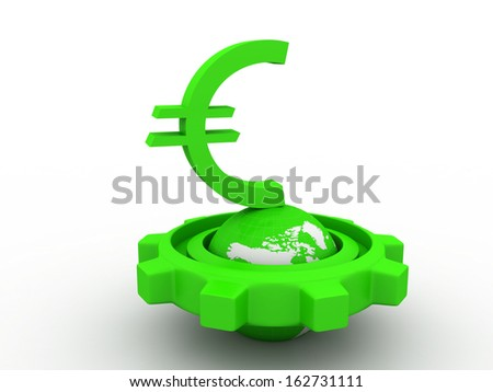 3d gear and earth with euro