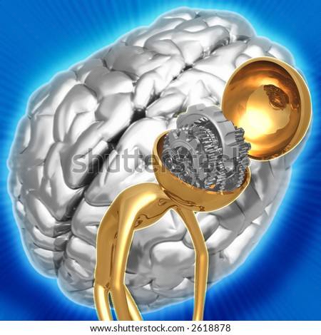 3D Gear Brain Winding Down Concept - stock photo