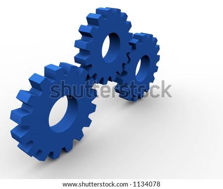 3d gear concept render (3 gears) - stock photo