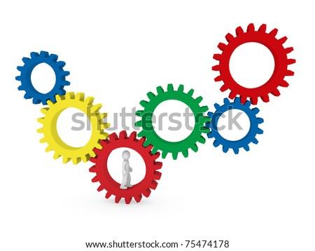 3d gear human man red blue green teamwork - stock photo