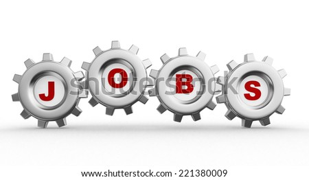 3d gear mechanism and word jobs - stock photo