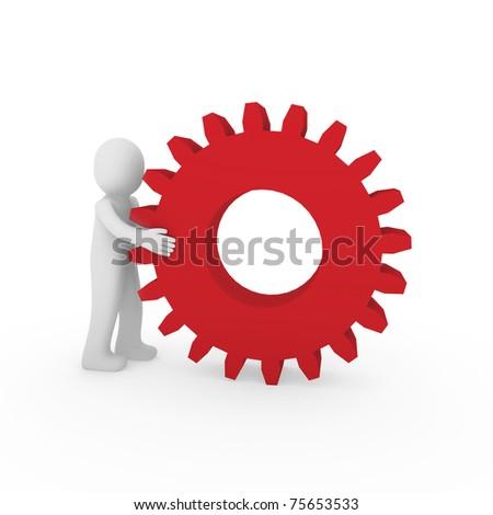 3d gear red human man teamwork business technology - stock photo