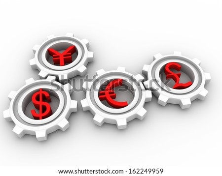 3d gear with global currency - stock photo