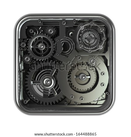 3D gears box. Work concept. isolated on white background High resolution 3d  - stock photo