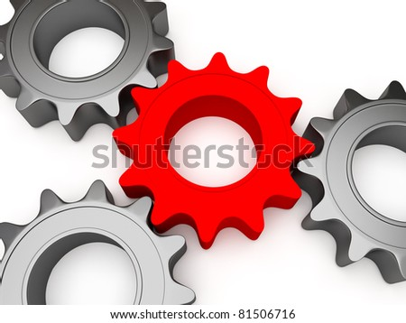 3d gears connected together, the central color is different - stock photo