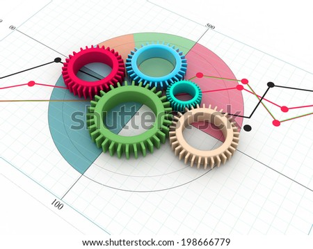 3d gears on white background - stock photo