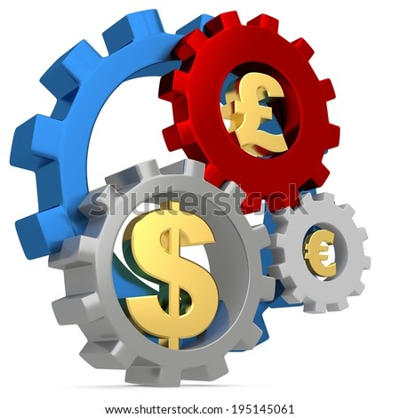 3d Gears with dollar, pound and euro signs on white background - stock photo