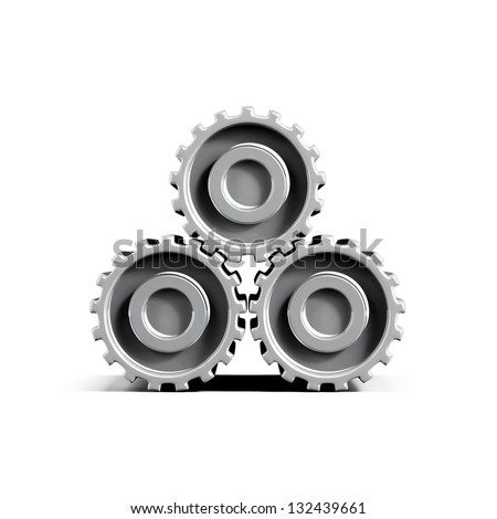 3d gearwheels isolated on white - stock photo