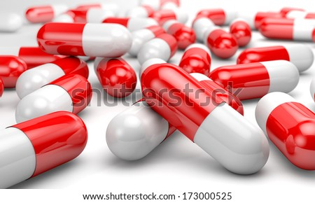 3d gelatin capsules on a white background - stock photo