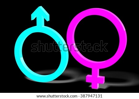 3D gender/ sex concept - male/ female.
